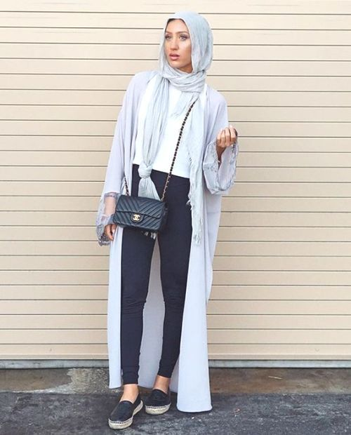 long cardigan with slip on shoes hijab- Hijabista fashion looks http://www.justtrendygirls.com/hijabista-fashion-looks/