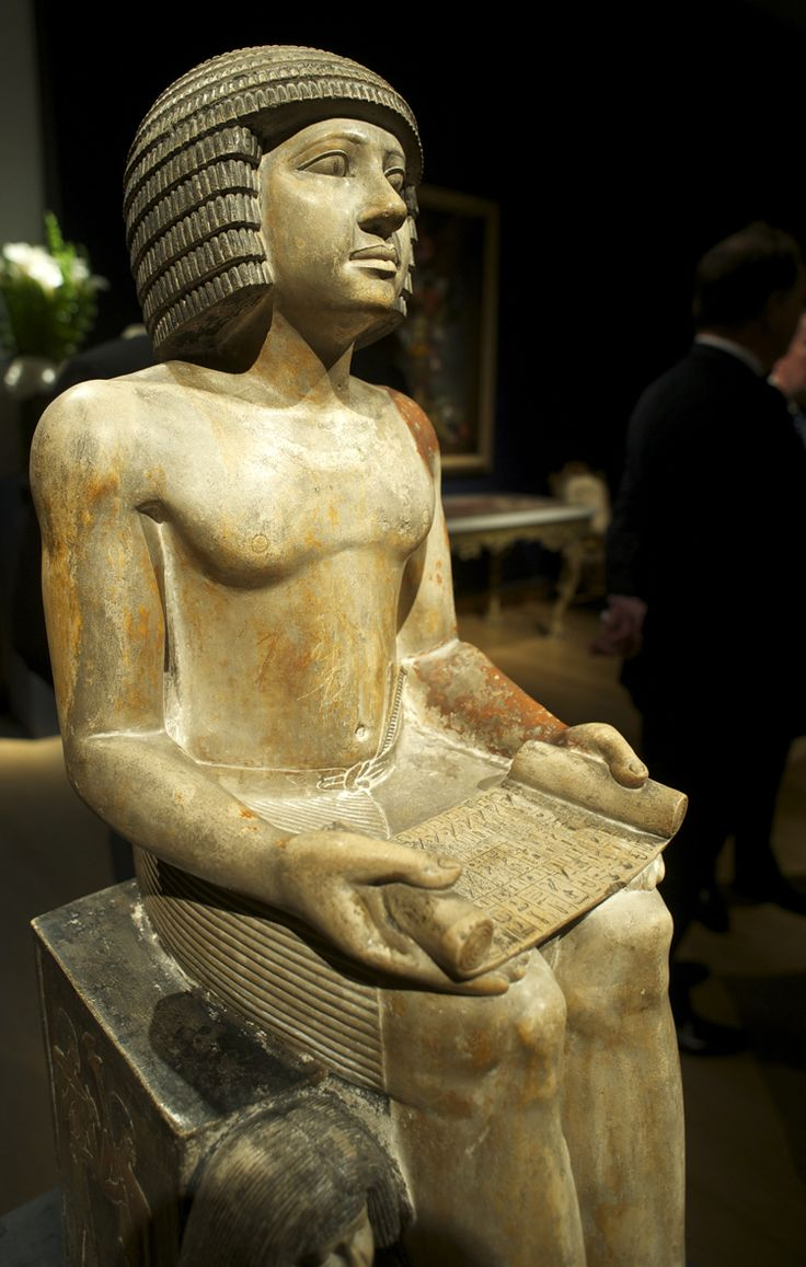 This ancient Egyptian statue dates to the 5th dynasty and depicts Sekhemka who was a scribe and court official, with his wife Sitmerit. Painted limestone.