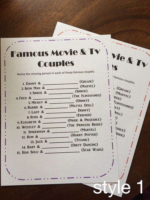 This purchase is for the Movie & TV Couples shower game. It includes 20 sheets. You can choose from style 1, style 2, or style 3. You can also