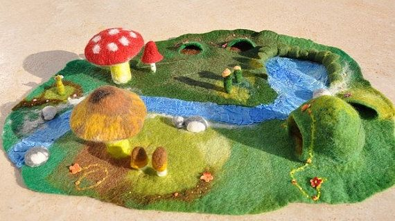 Waldorf Play Mat Mushroom 3D Large Steiner Nature by FeltedbyBetti