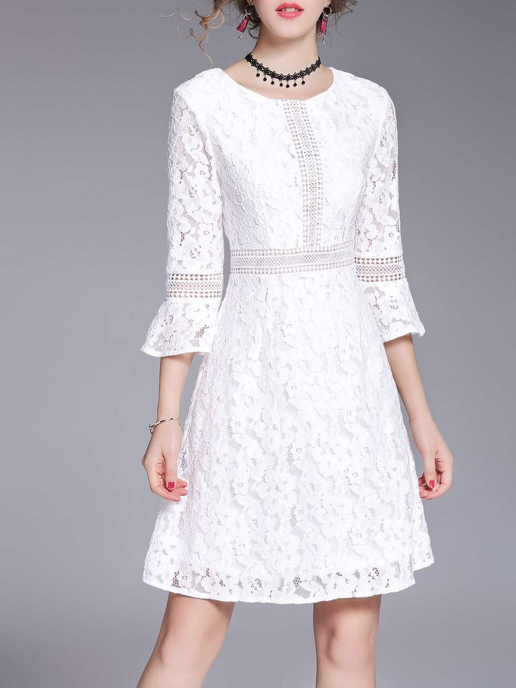 #AdoreWe StyleWe Mini Dresses - OULIE Crocheted Lace Floral 3/4 Sleeve Crew Neck Mini Dress - AdoreWe.com