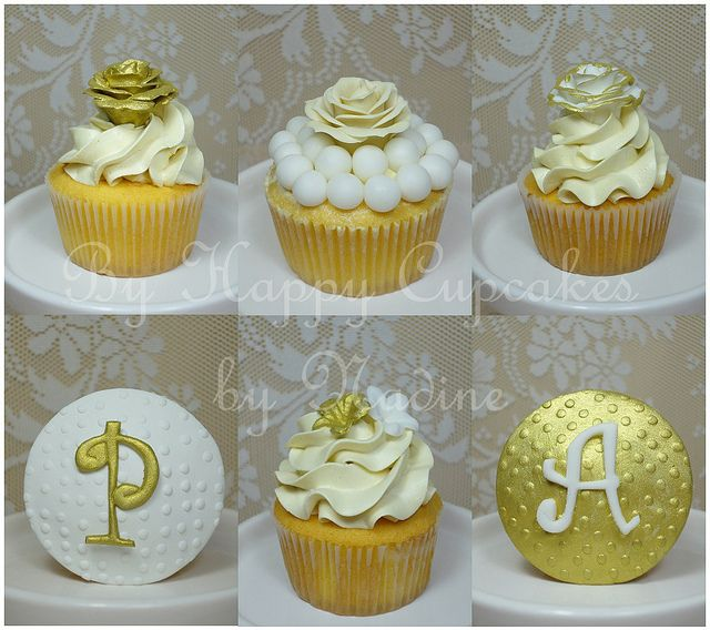 Gold and ivory cupcakes by Nadine's Cakes & My little white home, via Flickr