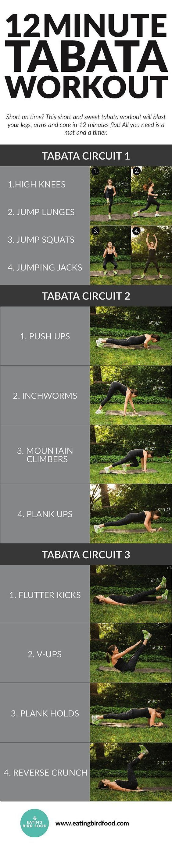 You do each circuit twice with 20 seconds of work and 10 seconds of rest for each move. You can also take a 1 minute break between each circuit making the whole routine 15 minutes.