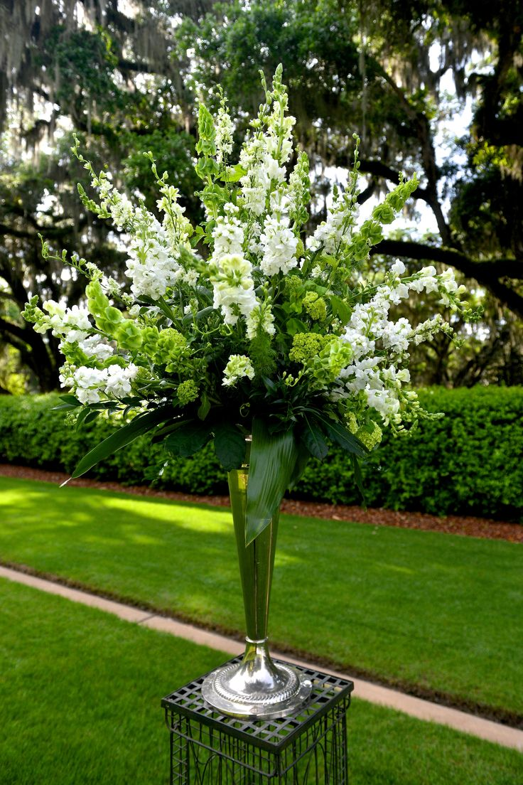 White Stock and Bells of Ireland Tall Aisle Arrangement - Could be used for ceremony or for tall centerpieces at tables