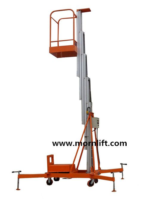 Aluminium lift is mainly used to lift workers to higher places for It is characterized by manual move, portability and easy to work. Lift power: AC(110V, 220V, 380V, 415V), DC or diesel available. Both ground and platform can control the lift by hydraulic cylinder, easily operated. sa@mornlift.com http://www.mornlift.com