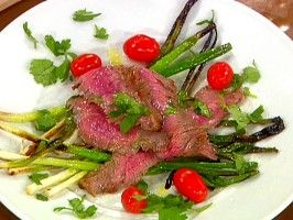 Grilled Flank Steak with Cebollitas (Grilled Green Onions) from CookingChannelTV.com