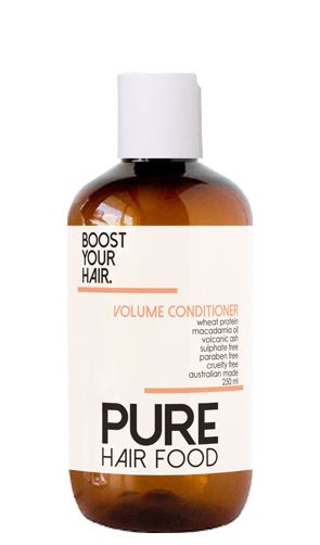 BOOST YOUR HAIR. Volume Conditioner for fine hair.  A delicate conditioner that boosts body, volume and shine. #purehairfood #australianmade