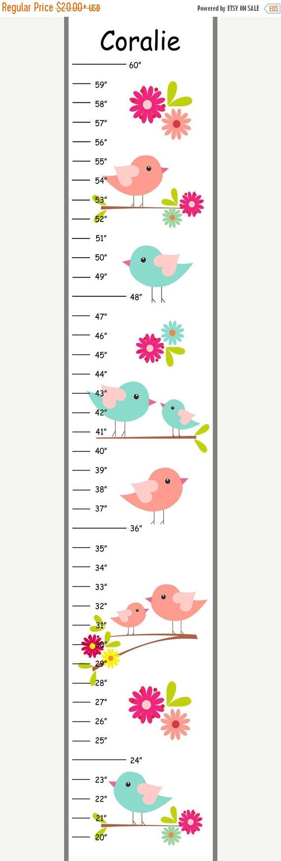 20 best medidores para nios images on pinterest for kids personalized teal and coral birds canvas growth chart nvjuhfo Gallery