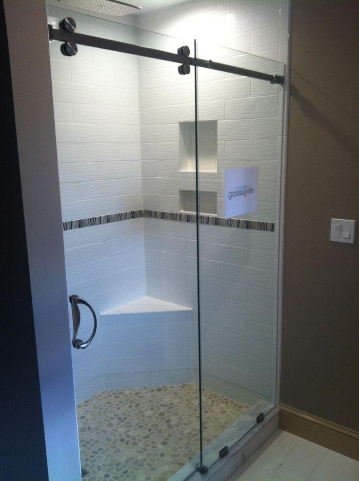 Frameless sliding shower door 3 8 clear glass with for Bathtub shower doors hardware
