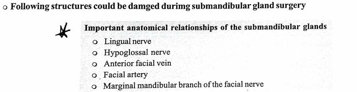 Relationship of Submandibular gland and therefore those that can be potentially injured during Submandibular surgery ... #Lingual #Hypoglossal (*) Facial vein artery nerve ... Note: Lingual N. Loops around Submandibular gland ... Not hypoglossal nerve ...