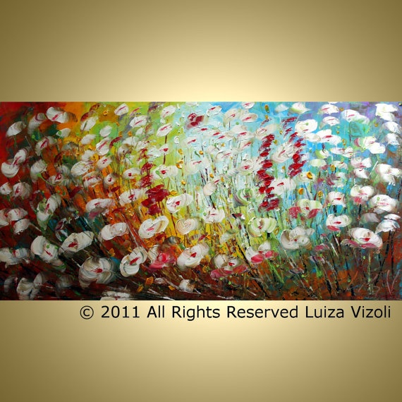 SALE Original Abstract Modern Textured Flowers by LUIZAVIZOLI, $275.00