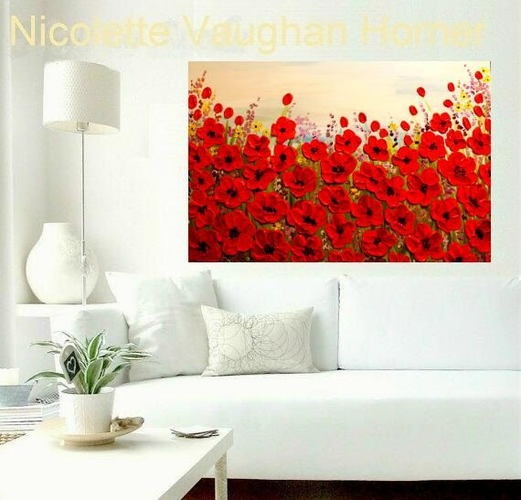 """Original Oil gallery canvas abstract Landscape Modern 36"""" palette knife signature RED POPPIES oil painting by Nicolette Vaughan Horner"""