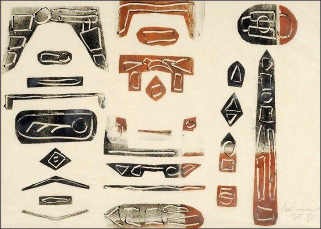 Ahti Lavonen: Etruskilaiset muistot, 1961, puupiirros, 39,5x55,5 cm