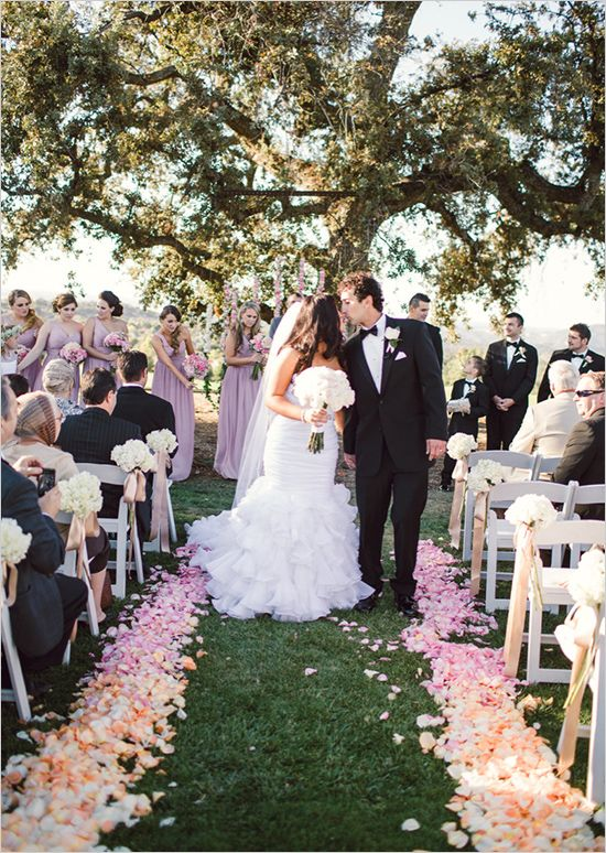 outdoor wedding ceremony... love the ombre petals lining the aisle