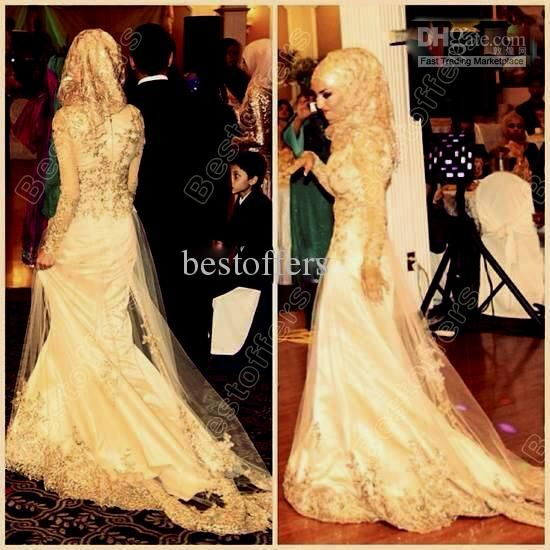 Wholesale Wedding Dresses - Buy Mermaid Muslim Wedding Dress with Gold Lace Flowers Beads And Crystals Fitted on the Islamic Wedding Dresses High Quality Bridal Gown 1137, $309.0 | DHgate