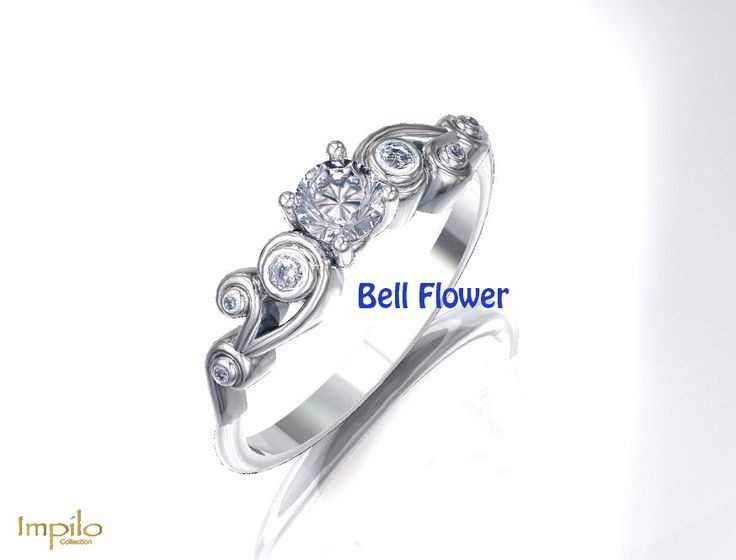"""""""Bell Flower"""" - This spiral design has one round brilliant cut diamond with three diamonds on each side in a spiral pattern."""