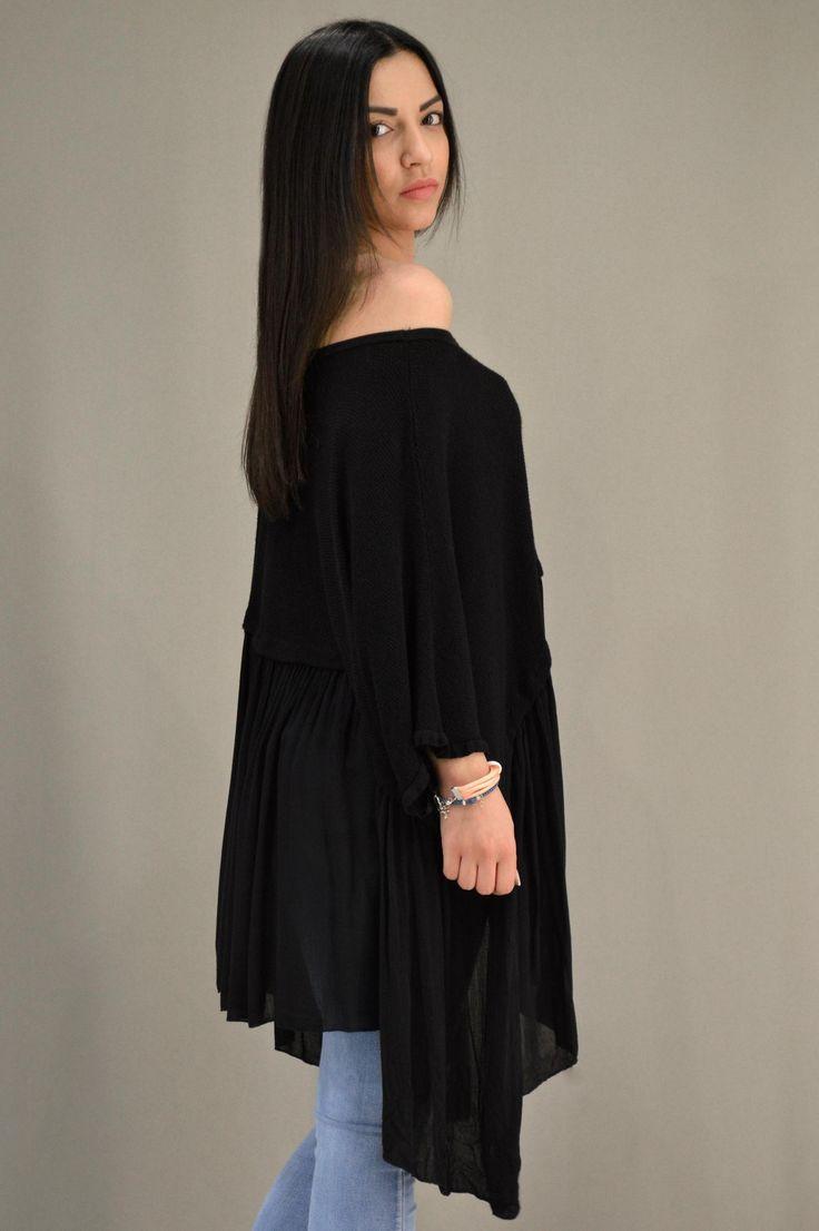 Γυναικεία μπλούζα φαρδιά MPLU-0887-bl | Μπλούζες > Μπλούζες και Mαύρο