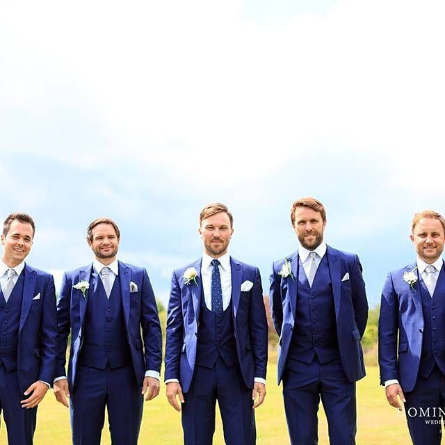 Mr Emery and his dapper groomsmen in our slim fit royal blue suit #anthonyformalwear #tie #waistcoat #bluesuit #groomsmen #ushers #wedding #groomssuit #buttonhole #pocketsquare #essex #weddingstyle #dominicwhitenphotography
