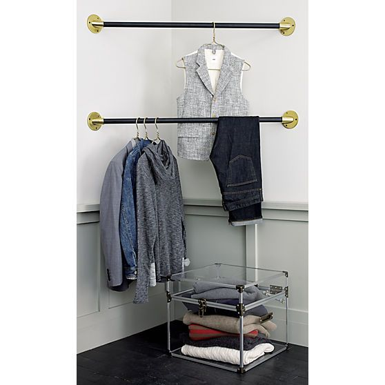 corner hanging bar in wall mounted storage | CB2 (would be super easy to make)