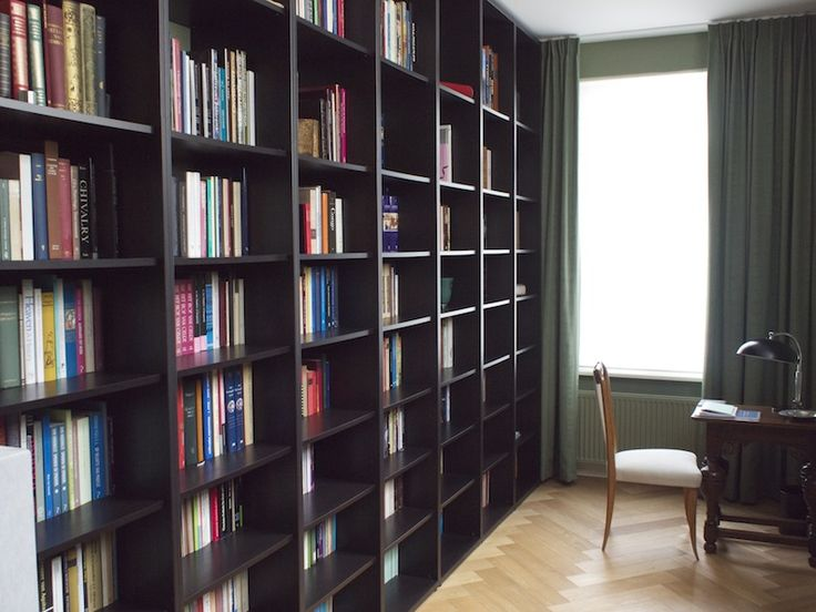 ikea hackers floor to ceiling billy bookshelves for makeshift library books in the home. Black Bedroom Furniture Sets. Home Design Ideas