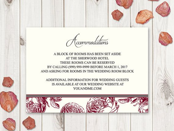 Wedding Accommodations Card Template Classic by ShishkoTemplates