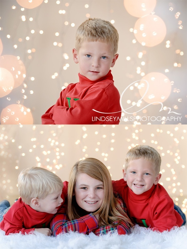 How To | Winter Holiday Backdrop | Prop Insanity. Such a good idea, could even be replicated at home! White string lights hung from a pole in the background!