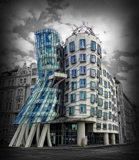 """Dancing House in Prague, Czech Republic is also known as """"Astaire & Rogers Building"""", after the legendary dance-duo, as the structure represents a man and woman dancing together."""