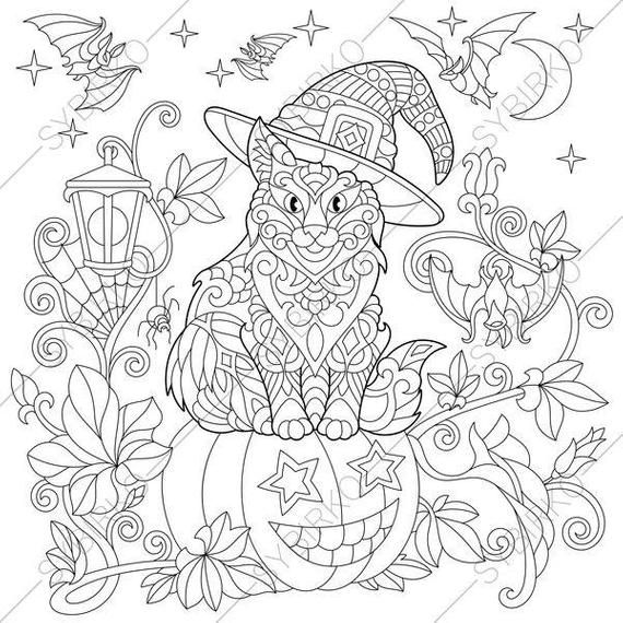 Coloring Page For Adults Digital Coloring Page Halloween Etsy Halloween Coloring Pages Halloween Coloring Cat Coloring Page