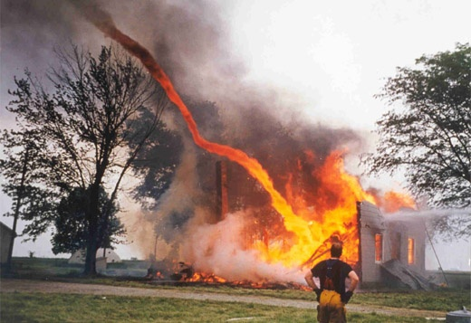 Fire Tornado. Plumes can form as heated air rises in a column. When a fire is especially hot and the wind is weak, the plume grows. Fires sometimes spawn their own winds as the flames consume oxygen, creating tornadoes filled with fire and noxious gases. (Photo: Josh Lane)
