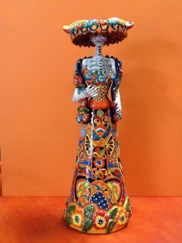 Talavera Day of the Dead Catrina.  Made in Dolores Hidalgo, Guanajuato, Mexico.  32 inches tall.