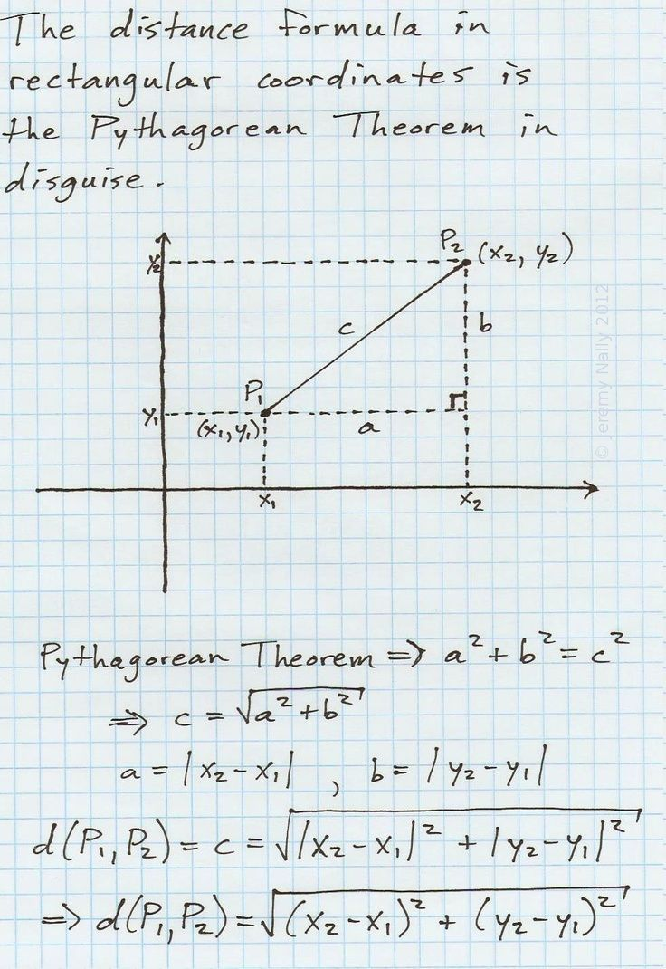 The Distance Formula In Rectangular Cartesian Coordinates Is The Pythagorean Theorem In Disguise A Lo Distance Formula Geometry Formulas Pythagorean Theorem