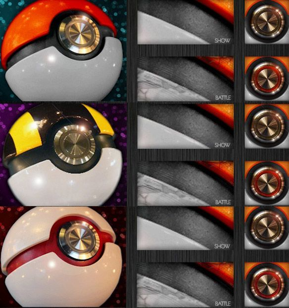 Prop Replica Pokéman Pokéballs || O.O These are real. You can get these. $100-$150 Right now they only have these three, but there are other balls in the works; MasterBall, LuxuryBall etc.
