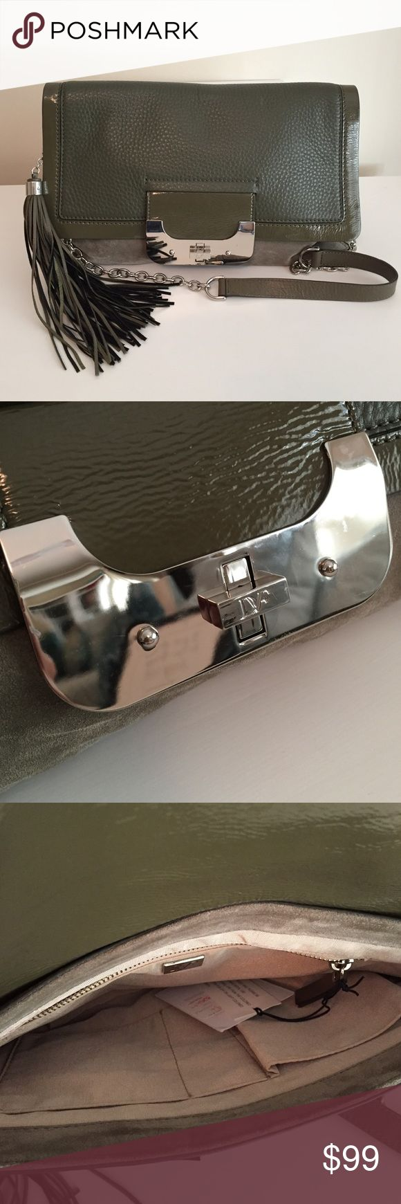 """DVF Bag Diane Von Furstenberg """"Harper"""" envelope bag. Brand new, never worn. Tags are still attached. This hunter green bag is made of soft suede and leather. Diane von Furstenberg Bags Shoulder Bags"""