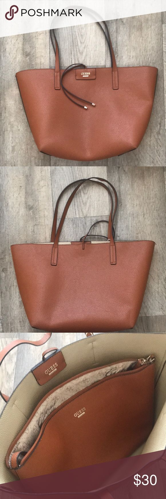 Guess Tote bag - reversible Brown tote bag - barely used - purchased in 2016 - removable insert - NO DAMAGE Guess Bags Totes