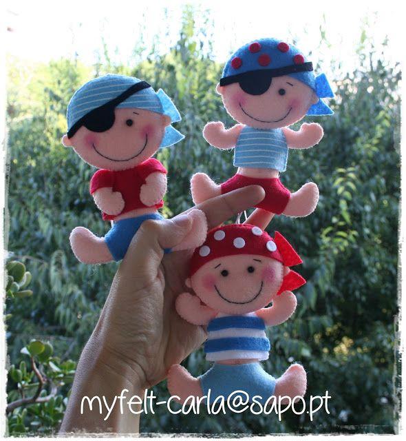 Piratinhas... felt pirates toy stuffed handmade sewing craft