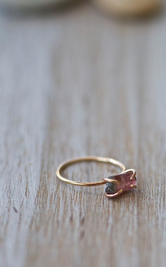 Incredible raw crystal of Watermelon Tourmaline has been hand picked and set in a hand crafted 14k gold fill ring. The effect is rustic-modern and