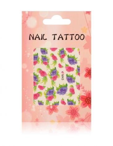 Fullcover καρφί του τατουάζ λουλούδια