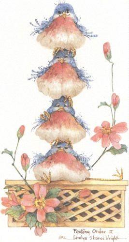 Esta litografía de 12 x 8 está bajo licencia de una acuarela original por Carolyn orillas Wright. La imagen es uno de los muchos en su serie Vida de las aves aves humorísticas que ella ha pintado durante los años. Esta imagen se ha utilizado en una tarjeta de saludo popular del árbol
