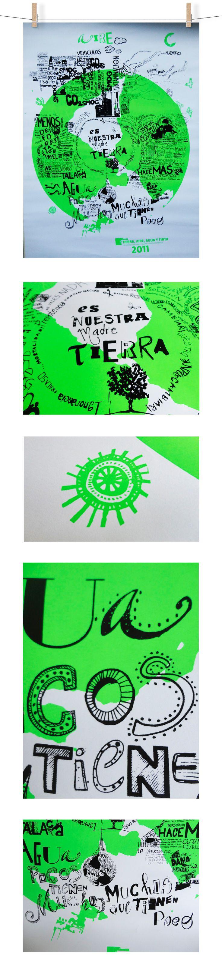 Diseño e impresión grupal de afiche en coproducción con el colectivo gráfico ONAIRE | Serigrafía a dos tintas, negro y verde fluorescente/ negro y naranja fluorescente | Universidad de Buenos Aires, Facultad de Arquitectura, Diseño y Urbanismo (FADU)