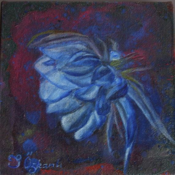 6x6 inchesoil painting on canvas blue flower