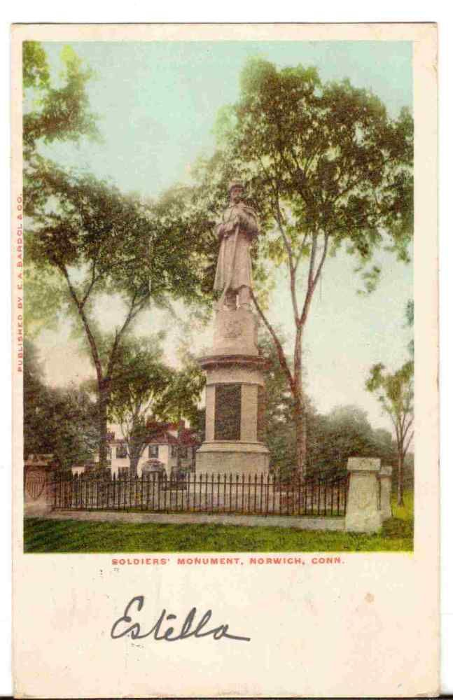 1906 Postmarked Postcard Soldiers Monument Norwich Connecticut CT