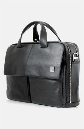 $395, Black Leather Briefcase: KNOMO London Warwick Double Compartt Leather Briefcase Black One Size. Sold by Nordstrom. Click for more info: https://lookastic.com/men/shop_items/142495/redirect