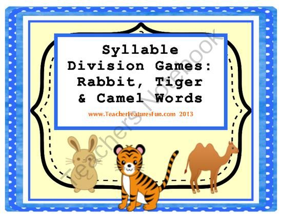 syllable division games  rabbit  tiger  u0026 camel words  vc