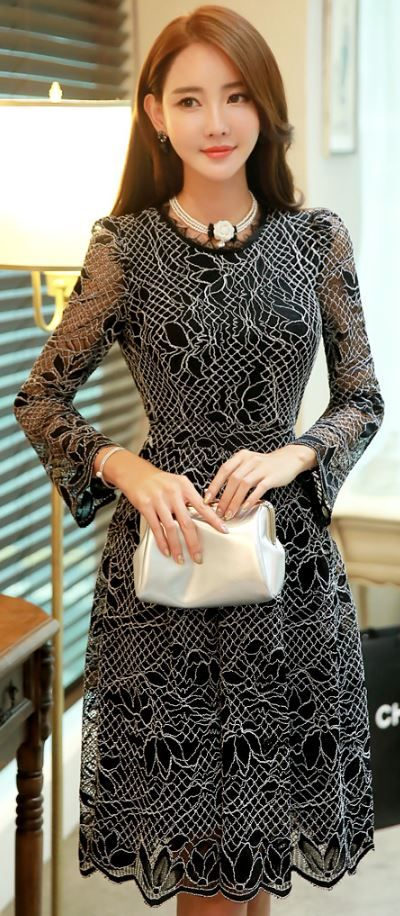 StyleOnme_See-through Floral Lace Long Sleeve Flared Dress #black #lace #floral #autumnlook #elegant #feminine #koreanfashion #kstyle
