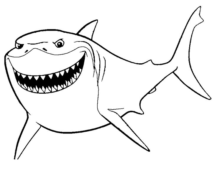 Shark From Finding Nemo Coloring Pages Printable Shark