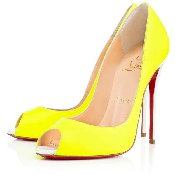Mr. Christian Louboutin and his marvels shoes<3 ❤ liked on Polyvore featuring shoes, heels, sapatos, yellow, louboutin, yellow pumps, summer shoes, peep toe shoes, yellow leather shoes and christian louboutin pumps