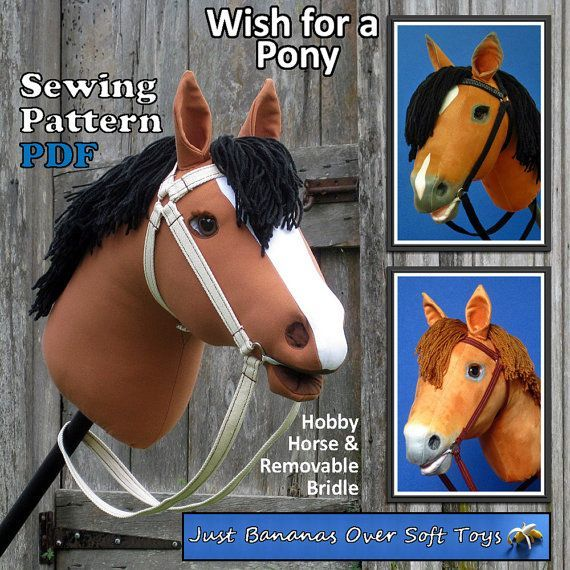 Sewing Pattern PDF Hobby Horse Wish for a Pony by JustBananasOverToys This image has been updated to illustrate the HOBBY HORSE Bay Cut n Sew and HOBBY HORSE Chestnut Cut n Sew Faux Suede Fabric now available on Spoonflower.com