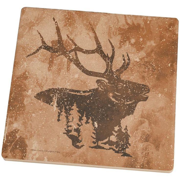 Distressed Brown Elk Silhouette Set of 4 Square Sandstone Coasters