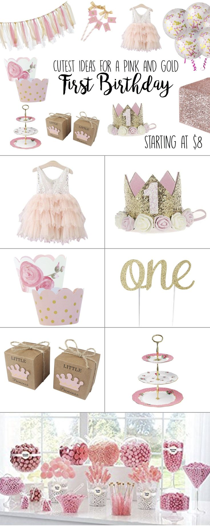 First Birthday Girl, Party Ideas, Themes, Pink and Gold, Outfit, Decorations, Cake, DIY, Princess, Invitations, Cake Smash, Favors, Favor boxes, Vintage, shabby chic #firstbirthday #pinkandgold #birthdaygirl #birthdayparty #firstbirthday #diypartydecorationsvintage