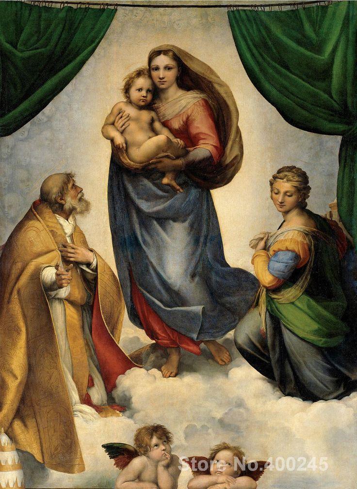 Christmas Gift art on Canvas The Sistine Madonna by Raphael sanzio Painting High Quality Handmade